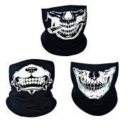 3 X Balaclava Bandana Caveira Estampada - Skull, Touca Ninja, Lenço, Moto, Bike e Paintball