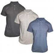 Kit 3 Pç Camiseta Pólo Masculina - Camisa Gola Pólo Algodão