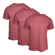 Kit 3 Camisetas Básica Masculina Bordô - Casual T-Shirt