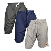 Kit com 03 Bermudas Moletom - Casual - Academia - Super Top - Cores Lisas