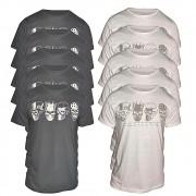 Kit com 10  Camisetas 4 Caveiras - Alto Relevo Skull - Camisa Masculina