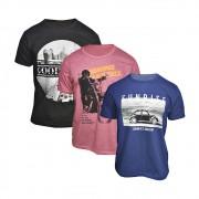 Kit com 3 Camisetas Masculinas Estampadas Variadas