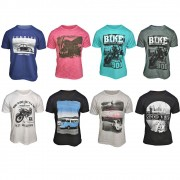 Kit com 8 Camisetas Masculinas - Estampas Variadas