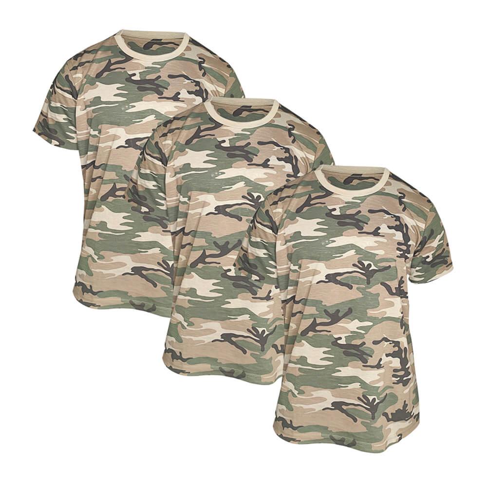 Kit 3 X Camiseta Camuflada Masculina Exército Militar - Camisa Blusa