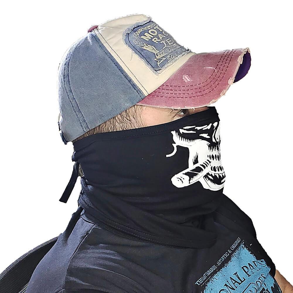 Balaclava Caveira com Charuto Estampada - Touca Ninja Motoqueiro