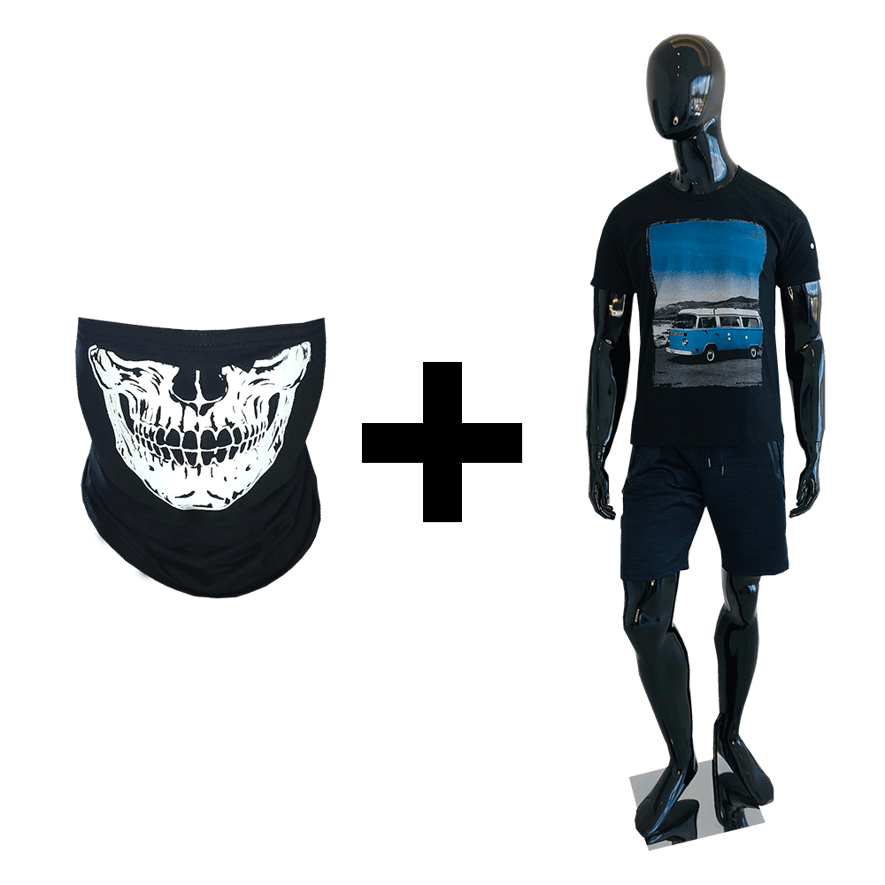 Balaclava Caveira Estampada + Camiseta Masculina Preta