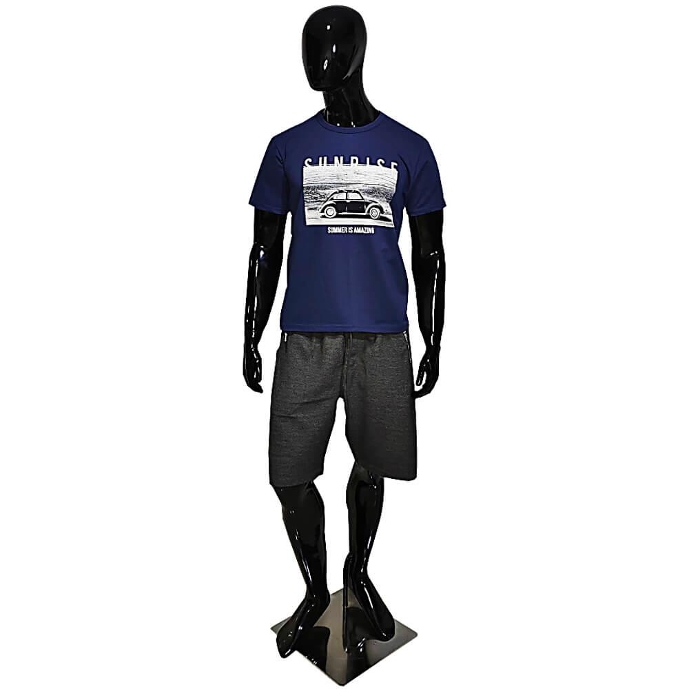 Camiseta Azul Escuro Masculina Estilosa - Estampada