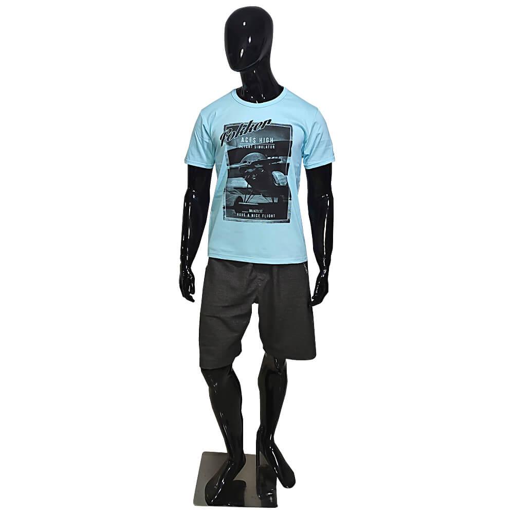 Camiseta Azul Masculina Estilosa - Estampada