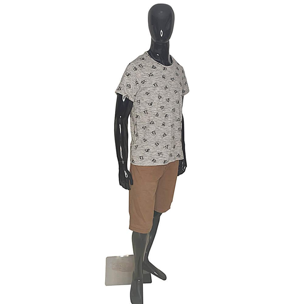 Camiseta Masculina Com Caveiras Estampada - T-Shirt Cinza Claro