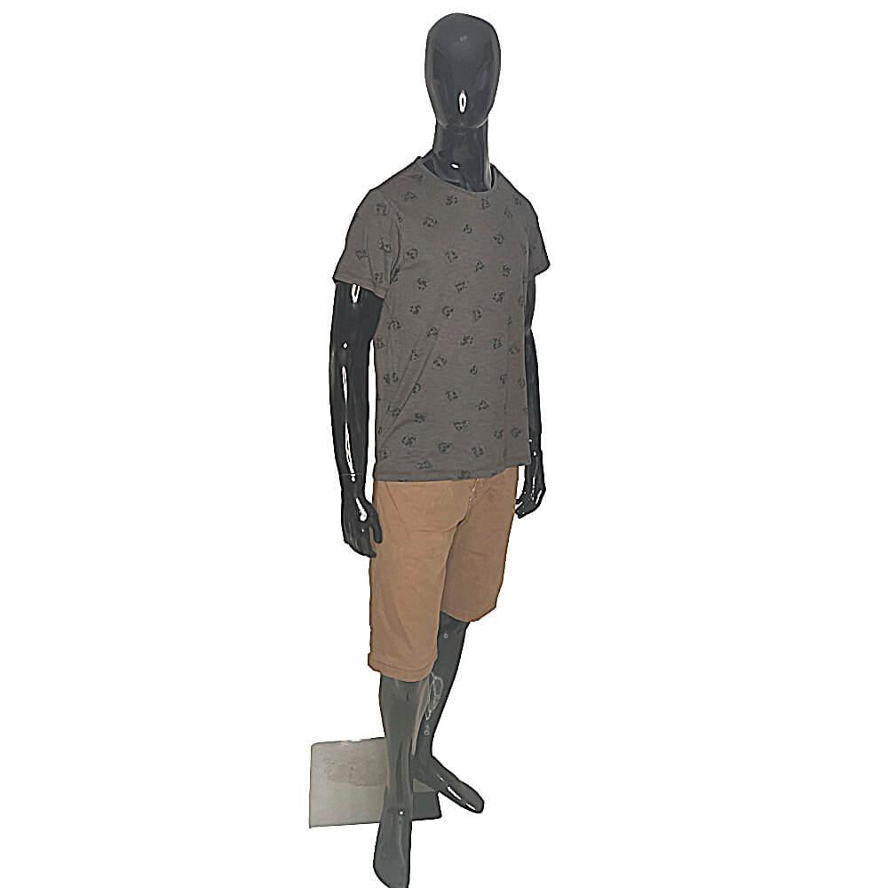 Camiseta Masculina Com Caveiras Estampada - T-Shirt Cinza Escuro