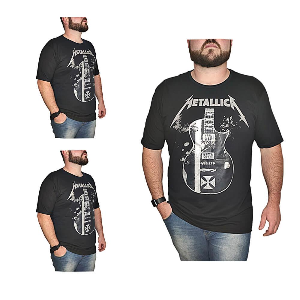 Camiseta Metallica Banda de Rock - 100% Algodão - Top - Camisas de Banda