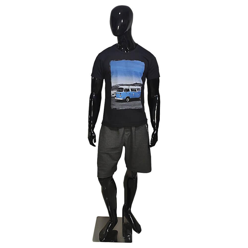 Camiseta Preta Masculina Estilosa - Estampada