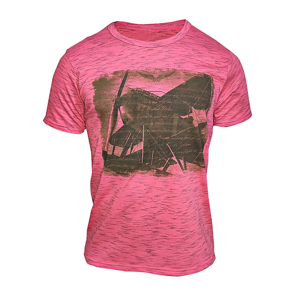 Camiseta Rosa Masculina Estilosa - Estampada