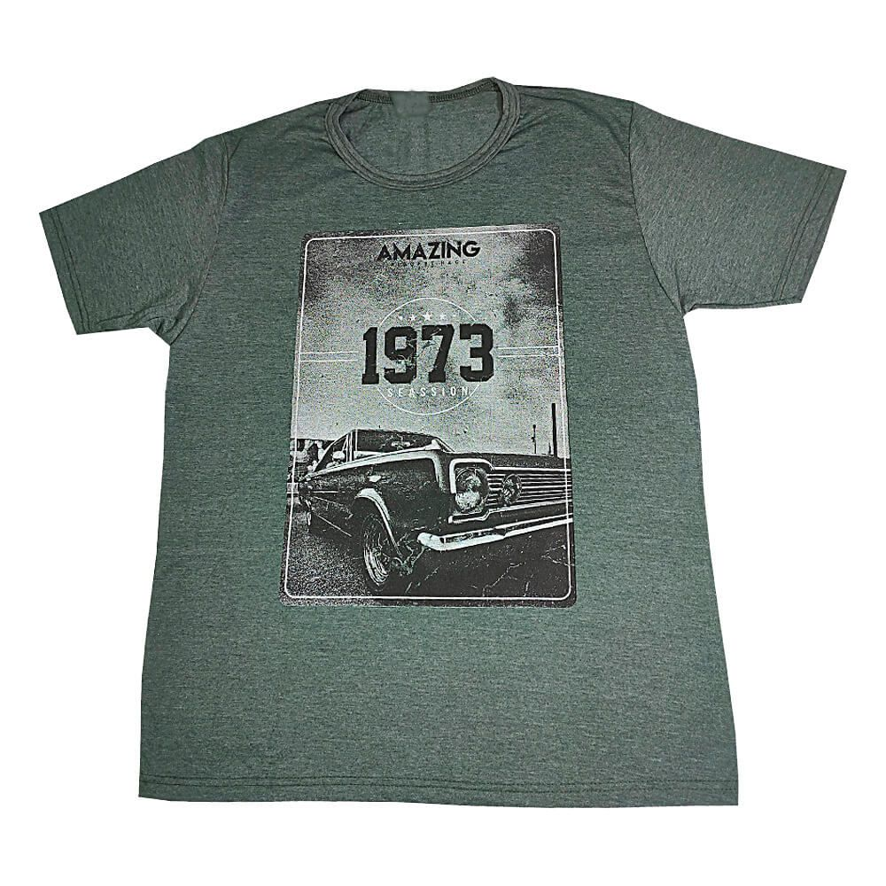 Camiseta Verde Escuro Masculina Estilosa - Estampada