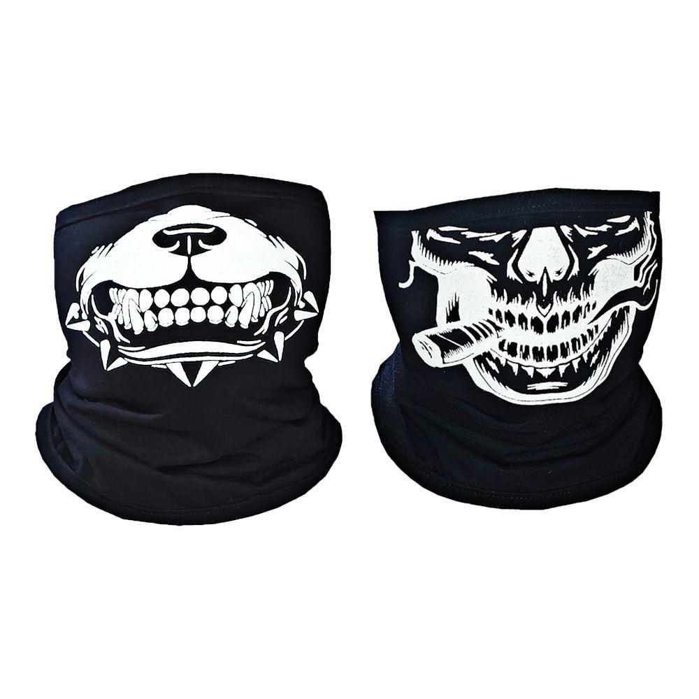 2 X Balaclava Bandana Caveira Estampada - Skull, Touca Ninja, Moto, Bike e Paintball