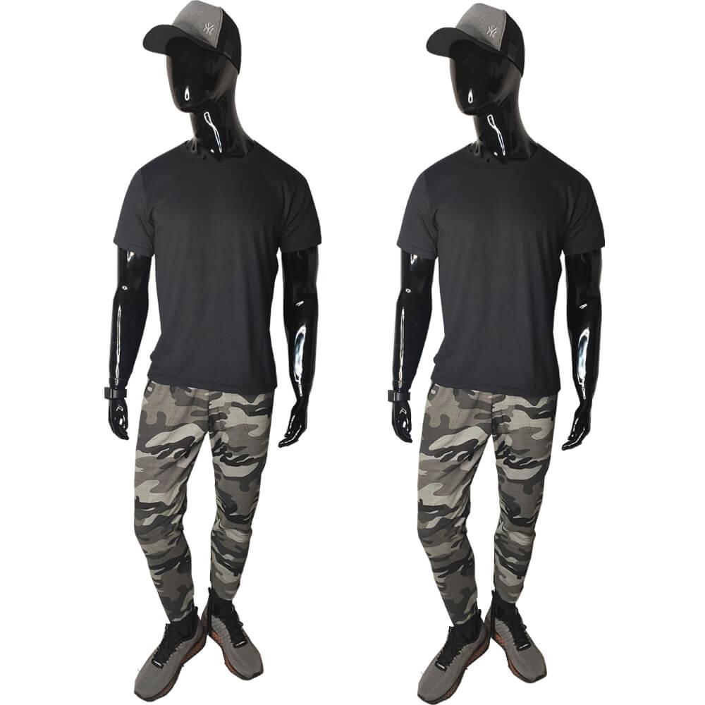 Kit 2 Calças Moletom Camuflada Slim Skinny Jogger Algodão
