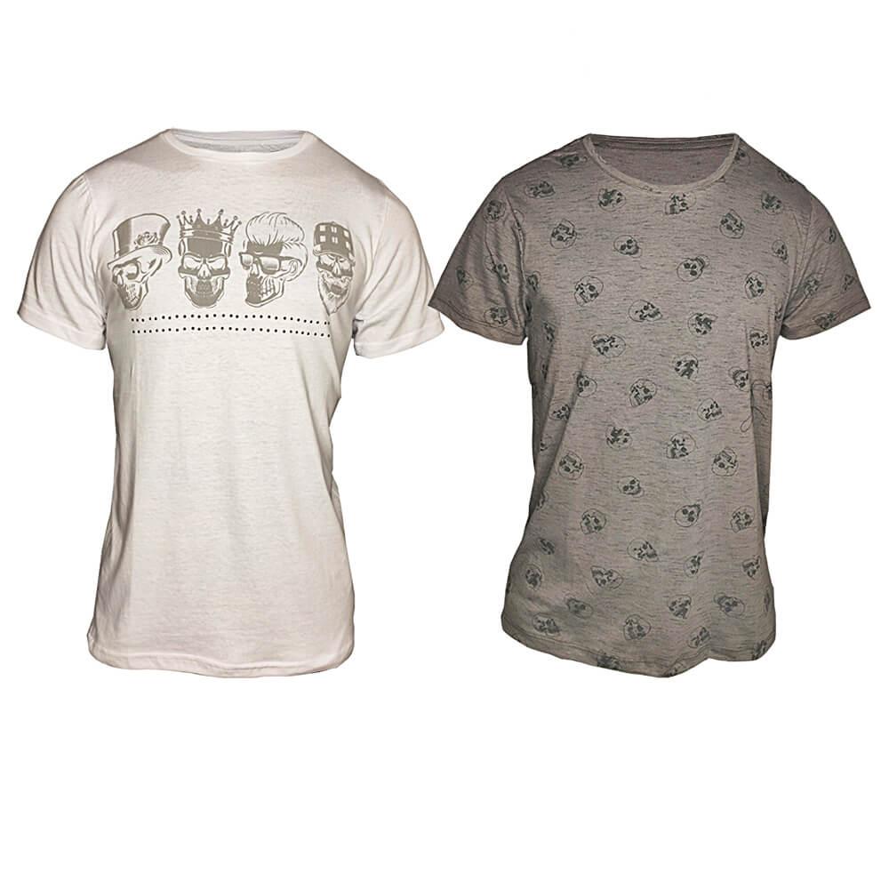 Kit 2 Camisetas de Caveiras Sortidas (Camiseta Preta, Branca, Estampada, Cinza Claro e Cinza Escuro)