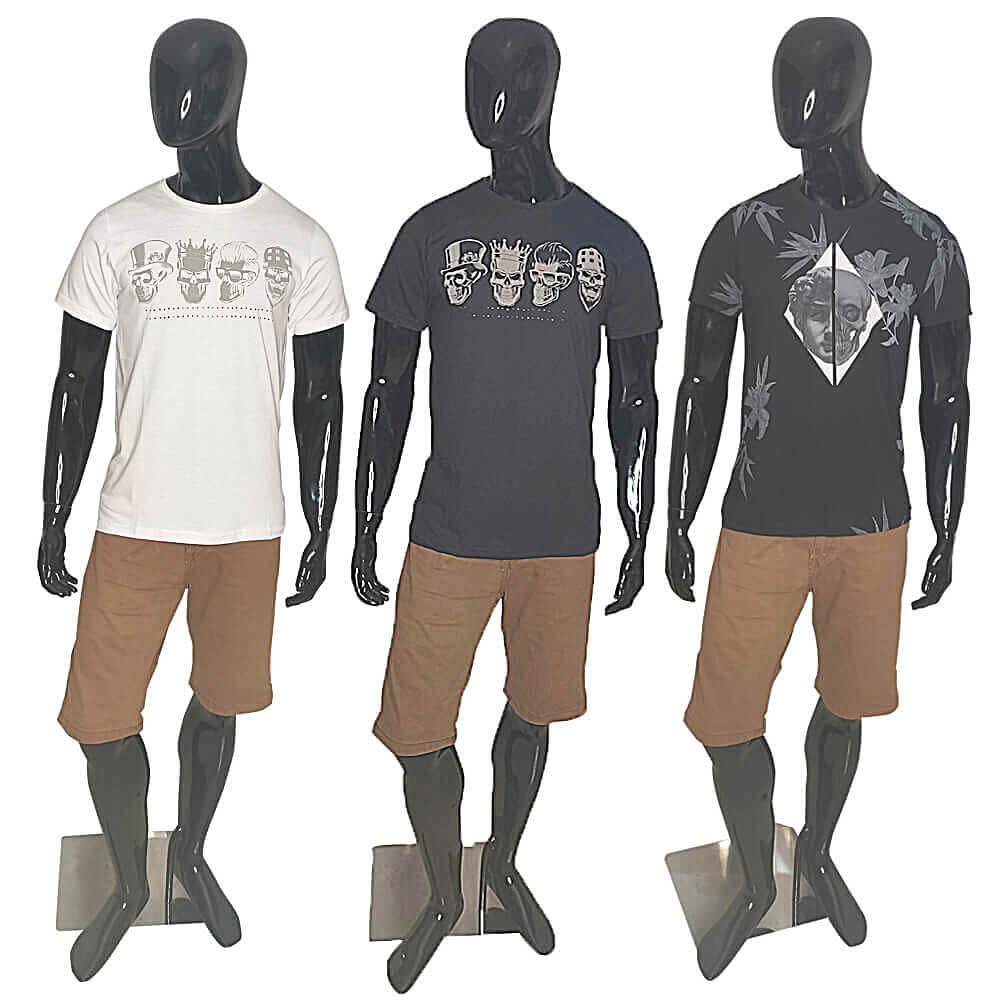 Kit 3 Camisetas de Caveiras Sortidas (Camiseta Preta, Branca, Estampada, Cinza Claro e Cinza Escuro)