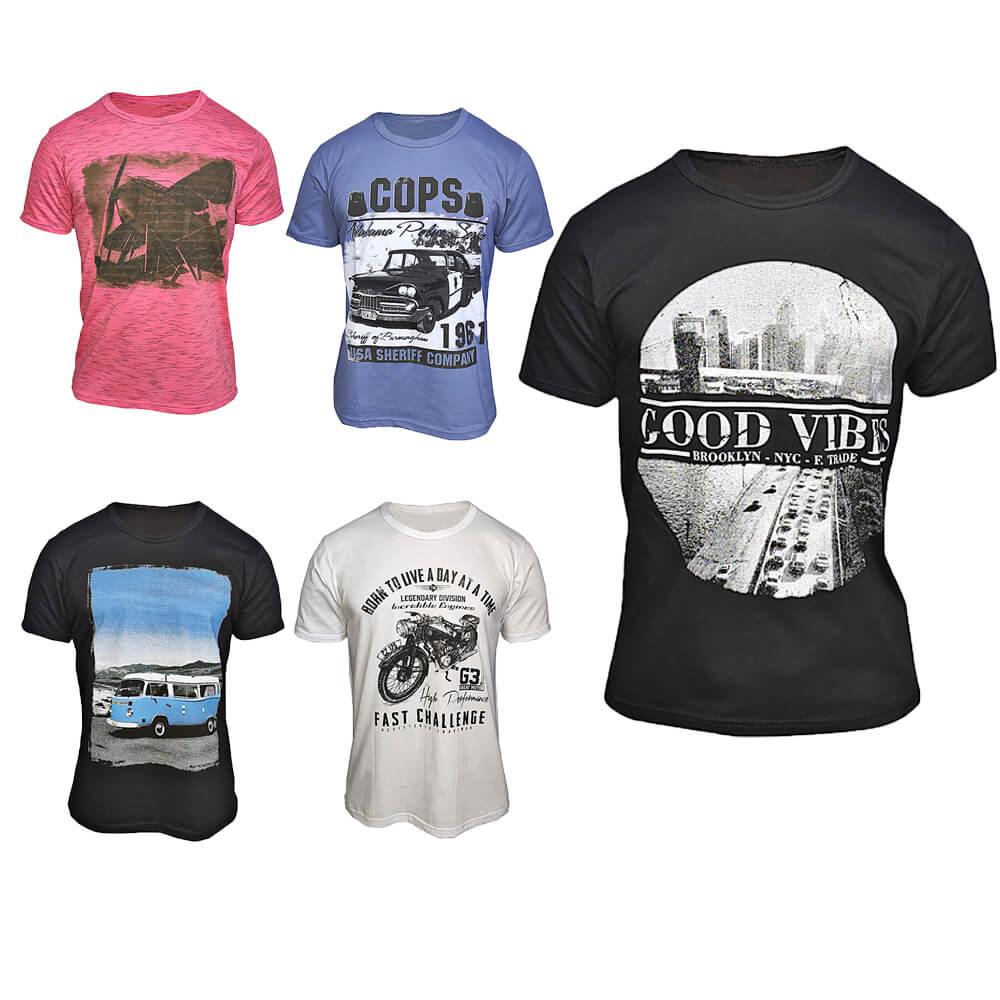Kit com 10 Camisetas Estampadas Masculinas - Top - Baratas