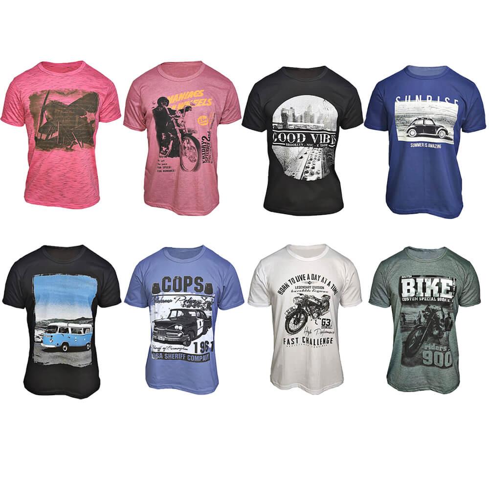 Kit com 50 Camisetas Estampadas Masculinas - Top - Baratas - Atacado