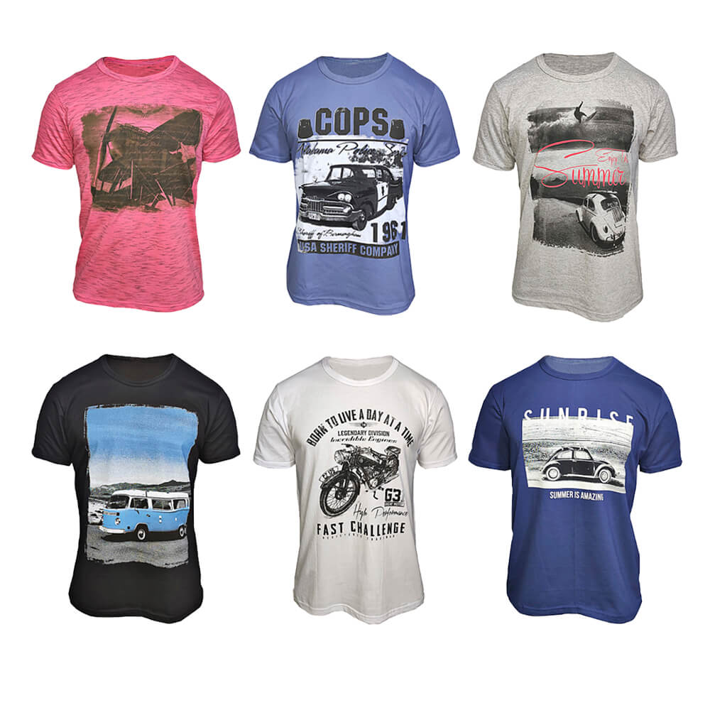 Kit com 5 Camisetas Masculinas Estampas Variadas Baratas Algodão