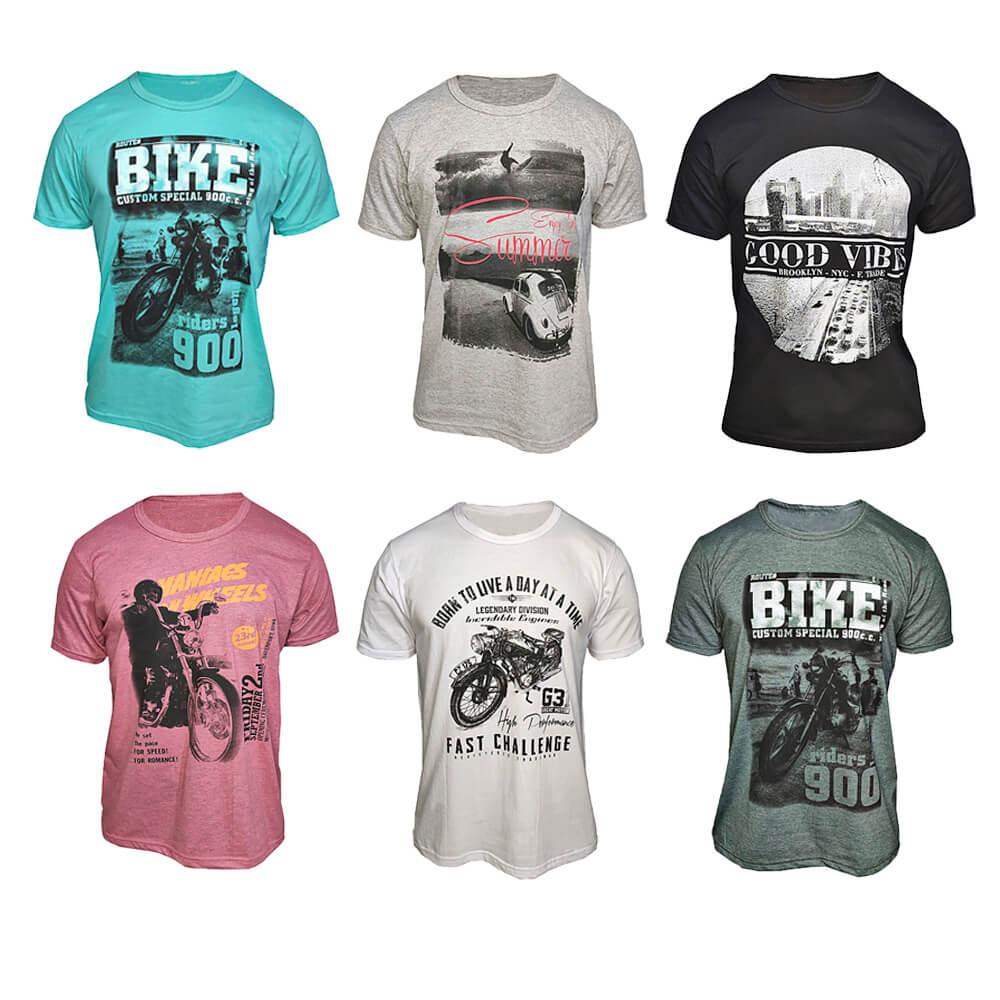 Kit com 6 Camisetas Masculinas Estampas Variadas Baratas Algodão