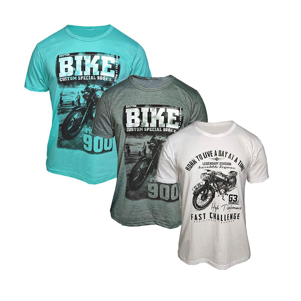 Kit com 8 Camisetas Masculinas Estampadas - Cores Variadas
