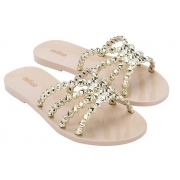 Chinelo Melissa Crystal - Bege/Ouro