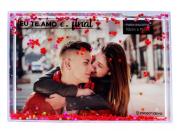 Porta Retrato Retangular com Glitter Eu Te Amo