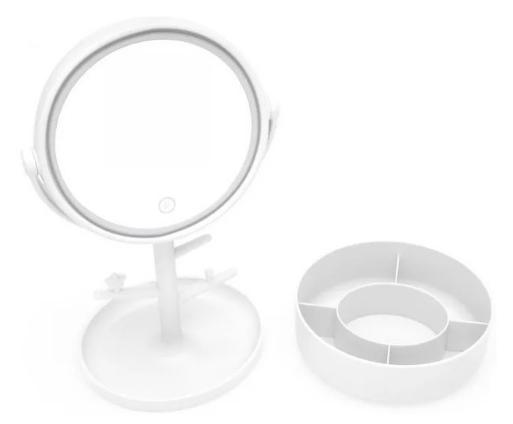 Espelho Led Porta Bijoux Branco