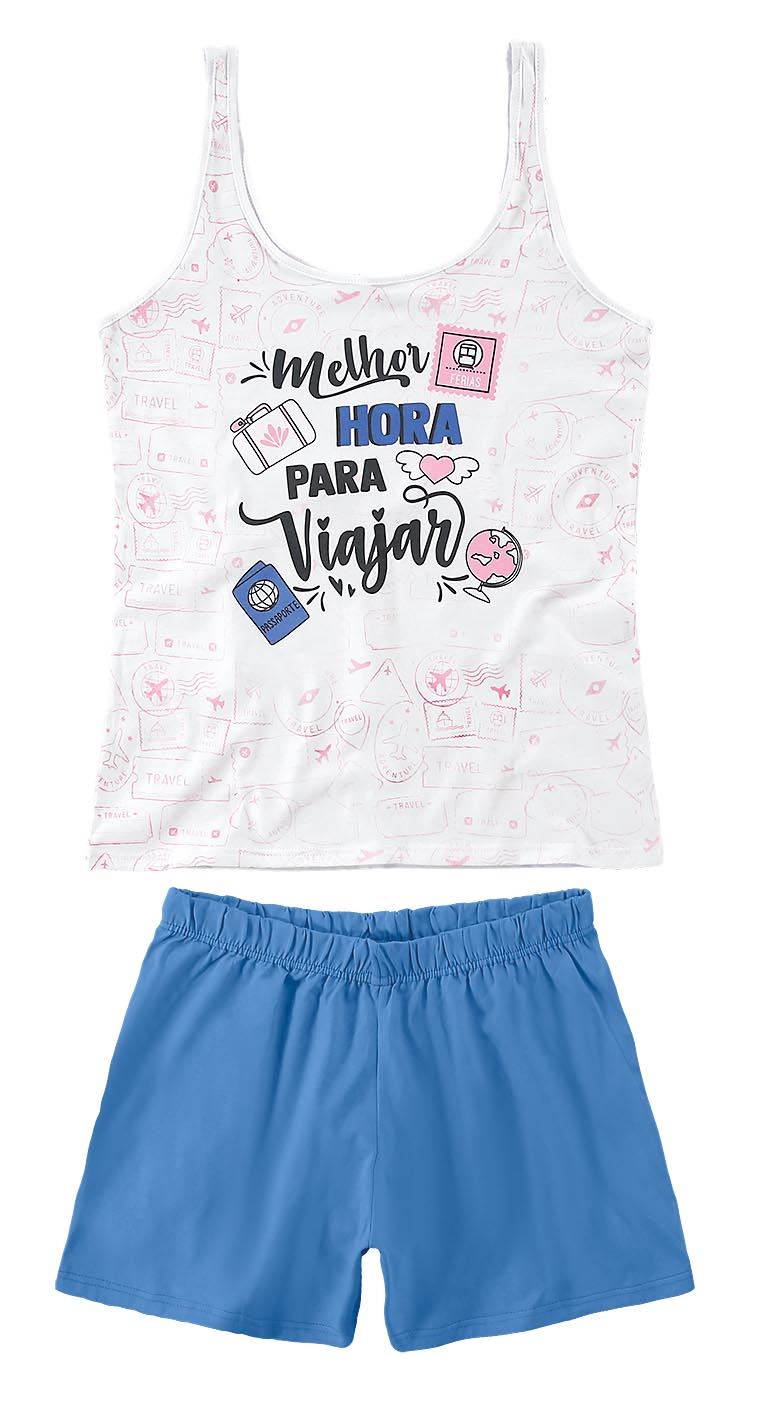 Pijama Regata Malwee - Melhor Hora Para Viajar Branca