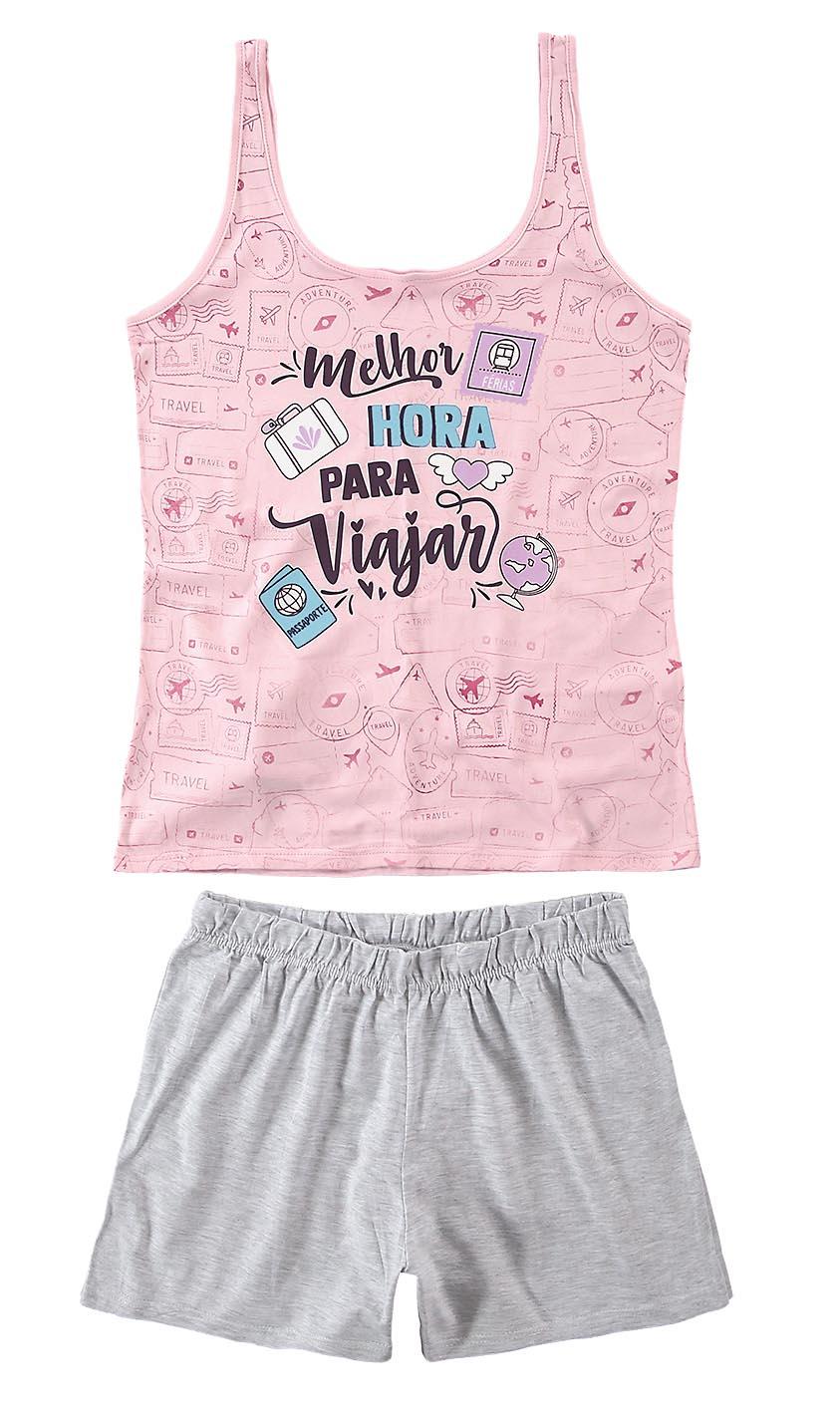 Pijama Regata Malwee - Melhor Hora Para Viajar Rosa