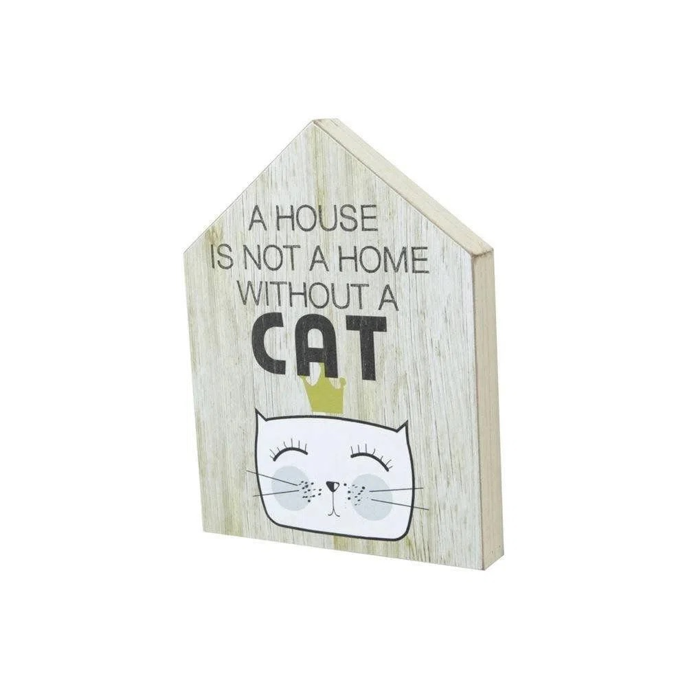 Quadro Madeira House Form Cat Bege