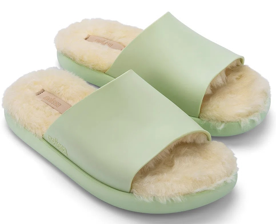 Sandália Melissa Fluffy Slide - Verde/Bege