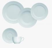 Aparelho de Jantar, Chá 30 Peças Germer Chevron em Porcelana Azul Vintage