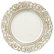 Jogo 6 Sousplat Trabalhado De Plástico Branco Com Marfim