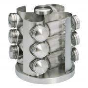 Jogo de Potes Para Condimentos 12 Unidades com Base Giratória Glass Line - Bon Gourmet