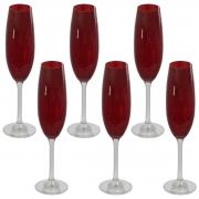 Jogo De Taça Vermelha Para Champagne  220Ml Crystalite Bohemia 6 Peças