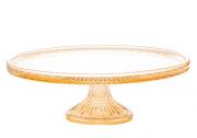 Prato De Cristal Para Bolo Queen Âmbar 32x11cm Wolff