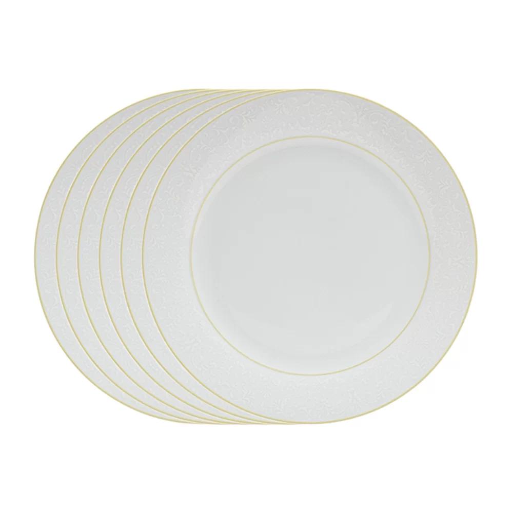 Aparelho de Jantar de Porcelana Wolff Com Fio Dourado Marrocos – 42 Peças