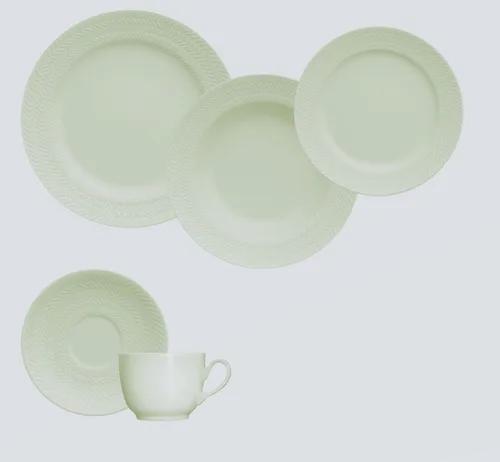 Aparelho de Jantar, Chá 30 Peças Germer Chevron em Porcelana Verde Menta