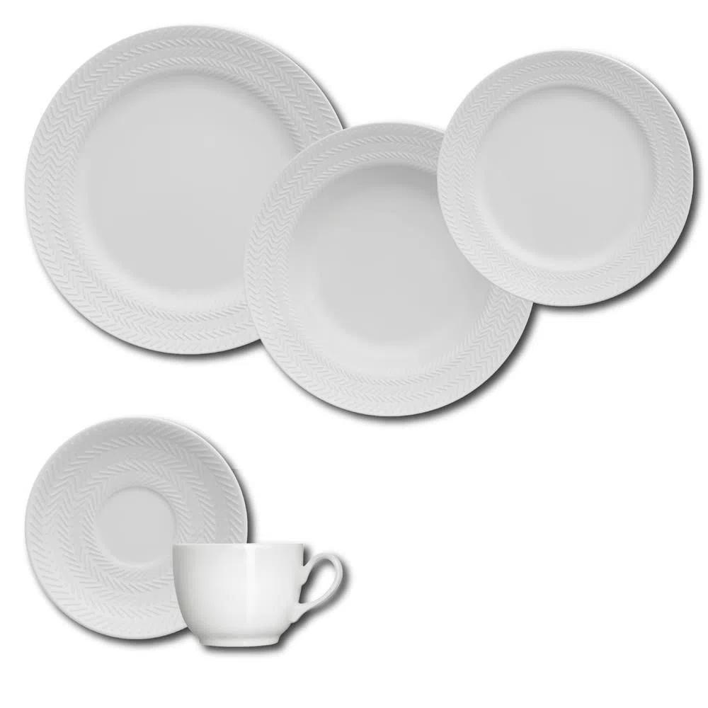 Aparelho de Jantar e Chá 30 Peças Germer Chevron em Porcelana - Branco