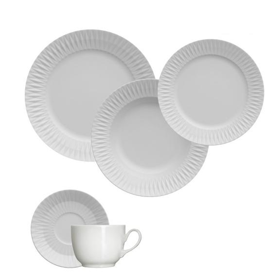 Aparelho de Jantar e Chá 30 Peças Germer Diamante em Porcelana - Branco