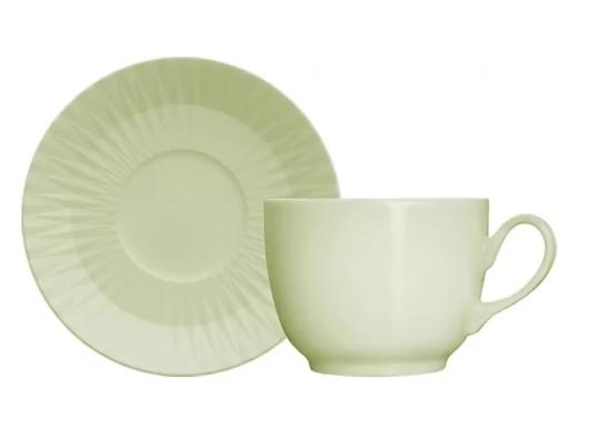 Aparelho de Jantar E Chá 30 Peças Germer Diamante em Porcelana Verde Menta