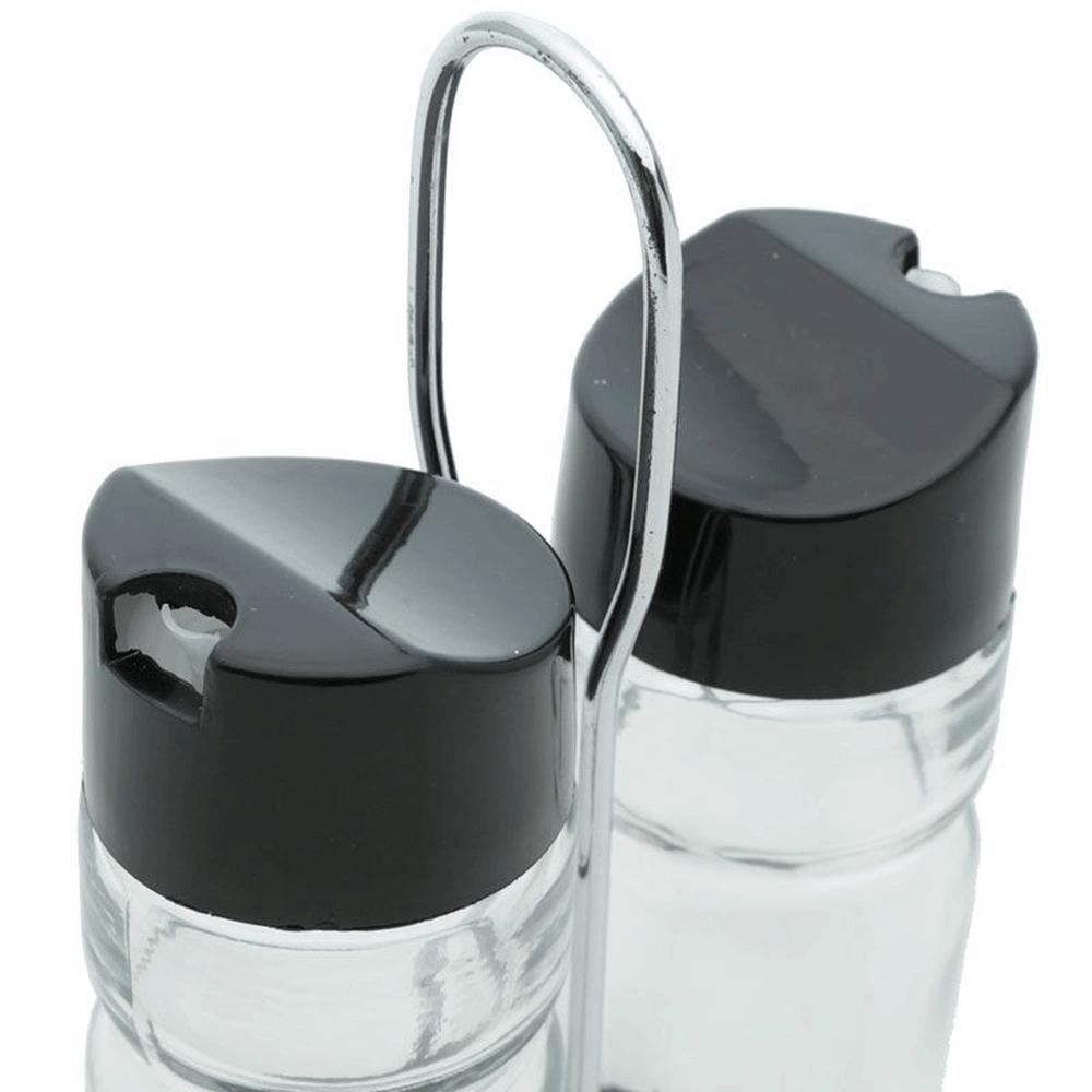 Conjunto 2 Peças Galheteiro de Vidro Com Tampa de Plástico e Suporte de Aço Inox Donatello