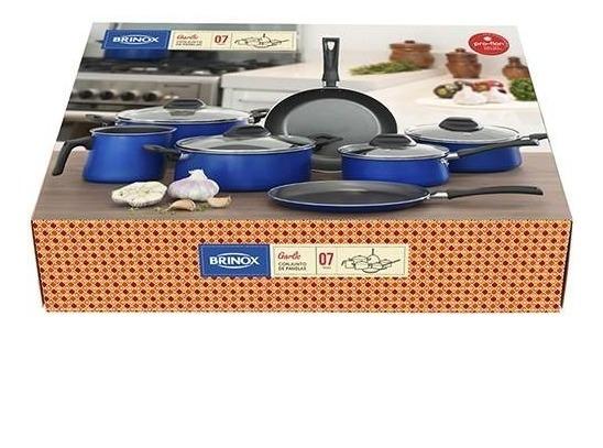 Conjunto de Panelas Brinox Garlic em Alumínio Azul - 7 Peças