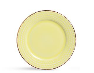 Conjunto De Pratos Para Sobremesa Com 6 Peças Escama Amarelo BB Com Ouro