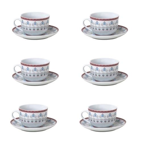 Jogo 6 Xícaras De Chá C/ Pires Wolff Mandala Porcelana 220 ml Branco