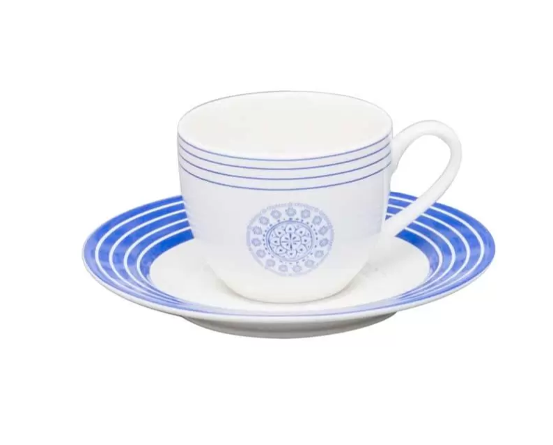 Jogo 6 Xícaras Para Café Com Pires De Porcelana New Bone China Blue Geometry 220 ml