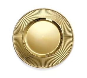 Jogo Com 6 Sousplat  Borda Com Listras Dourado